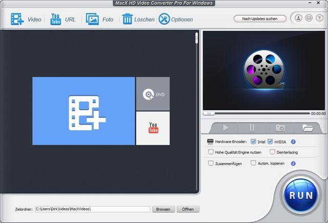 MacX HD Videokonverter Pro für Windows Programmfenster