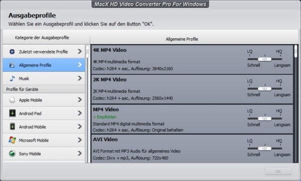 Ziel-Format für die Video-Konvertierung auswählen