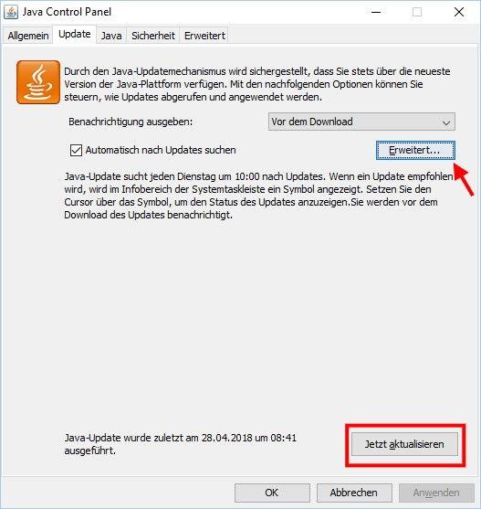 Manuell nach Java Updates suchen jetzt aktualisieren