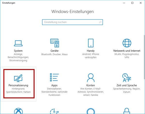 Fenster mit den Windows-Einstellungen