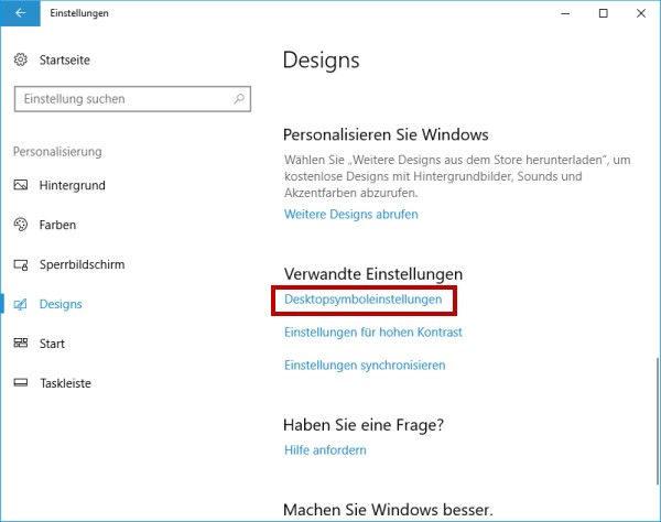 Desktopsymboleinstellungen ändern