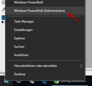 Windows PowerShell als Administrator öffnen