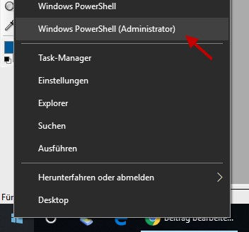 Windows PowerShell als Administrator öffnen