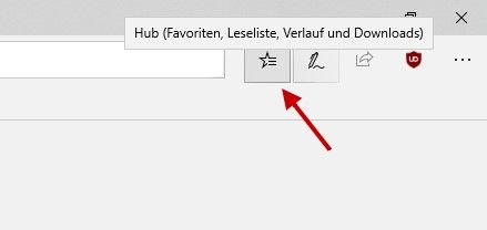 Microsoft Edge Schaltfläche Hub für Browserverlauf