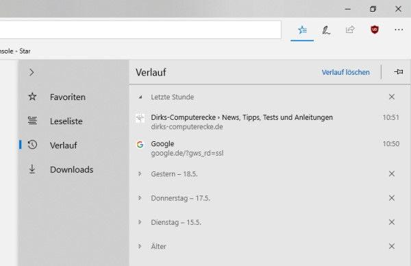 Microsoft Edge: Browserverlauf anzeigen und löschen