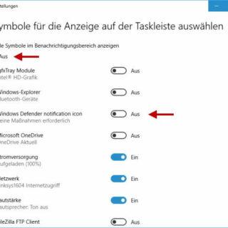 Windows Defender Icon in Windows 10 ausblenden oder einblenden