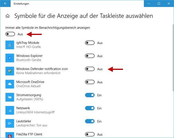 Windows Defender Icon für aktuellen Benutzer in den Taskleisteneinstellungen ausblenden oder einblenden