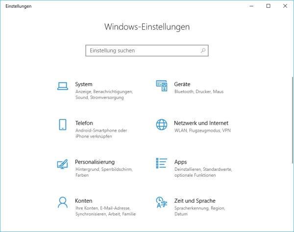 Fenster mit Windows-Einstellungen