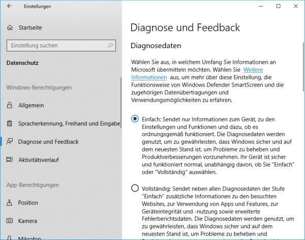 Windows 10 Diagnosedaten deaktivieren