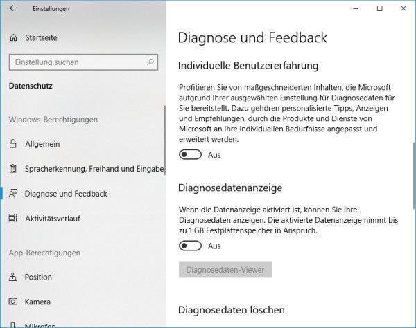 Windows 10 Diagnosedaten deaktivieren - weitere Einstellungen