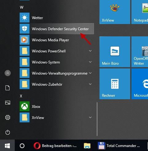 Windows Defender Security Center öffnen im Startmenü