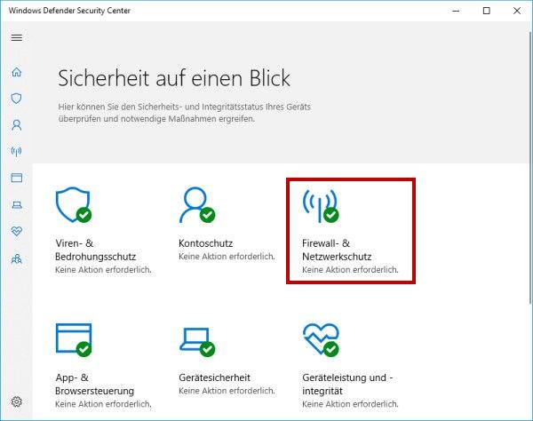 Windows Defender Security Center Firewall und Netzwerkschutz