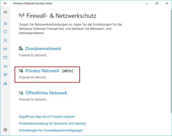 aktives Netzwerk auswählen