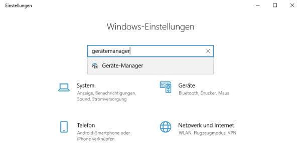 Gerätemanager öffnen über die Windows-Einstellungen