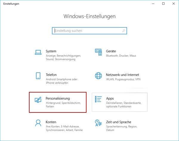 Windows-Einstellungen Kategorie Personalisierung