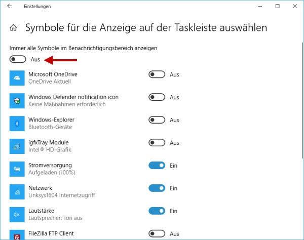 Icons für den Infobereich auf der Taskleiste ausblenden oder anzeigen