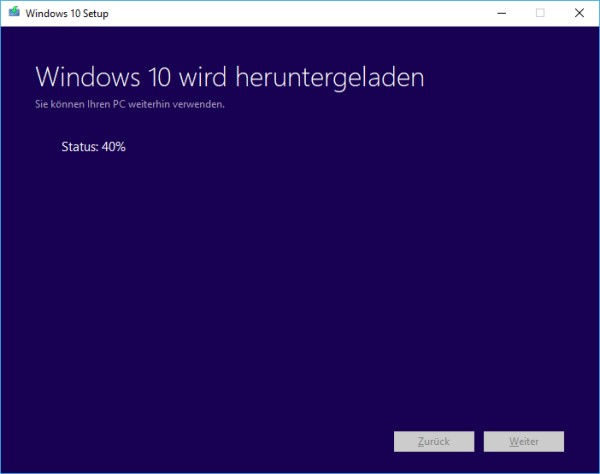 Download der Windows 10 ISO-Datei läuft