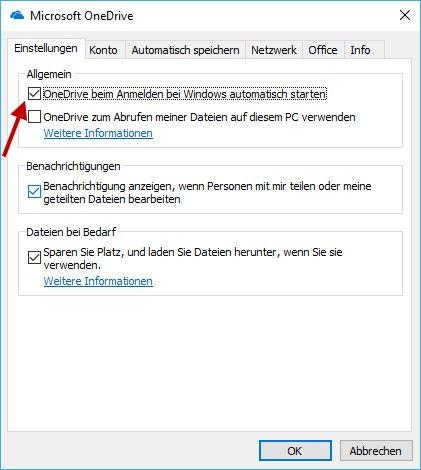 Autostart OneDrive deaktivieren