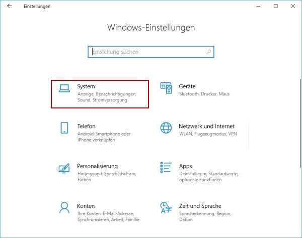 Schnellstarts einschalten - Windows Einstellungen