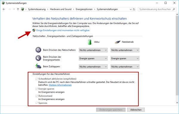 Einschalten und Ausschalten des Schnellstarts in Windows 10