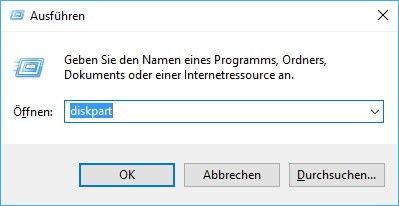 Schreibschutz deaktivieren - Diskpart öffnen