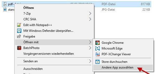 Standardprogramm PDF-Dateien öffnen auswählen