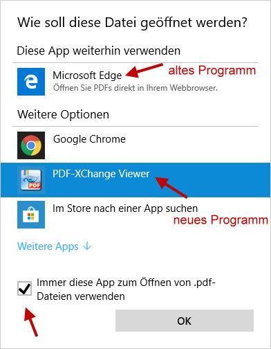 neues Standardprogramm zum Öffnen von PDF-Dateien festlegen