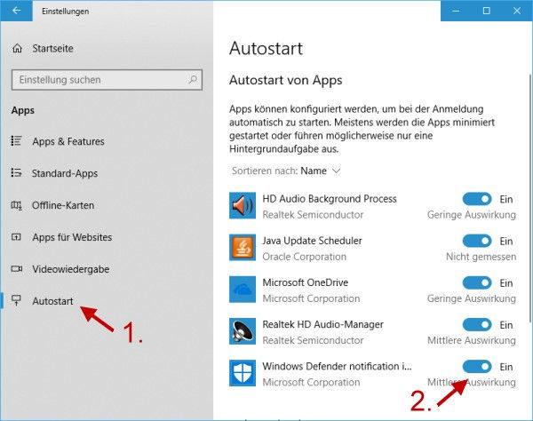 Windows Defender Icon im Taskmanager aktivieren oder deaktivieren