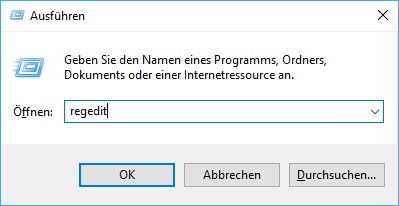 Registry-Editor durch regedit im Ausführen-Fenster öffnen