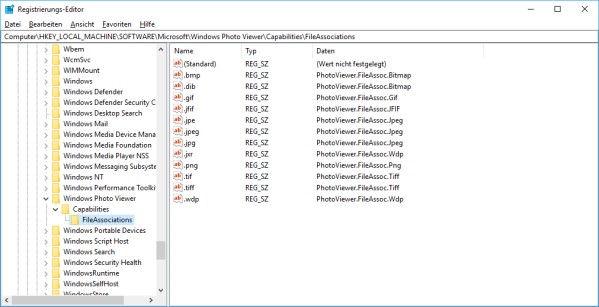 Registrierungs-Editor mit den Dateizuweisungen für die alte Windows-Fotoanzeige