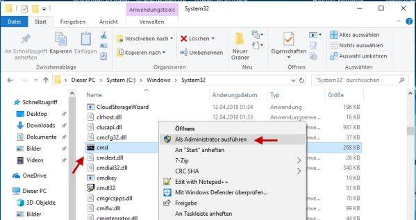 Erweiterte Eingabeaufforderung aus dem Datei Explorer öffnen