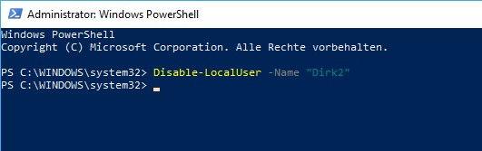 Benutzerkonto deaktivieren über die Windows PowerShell