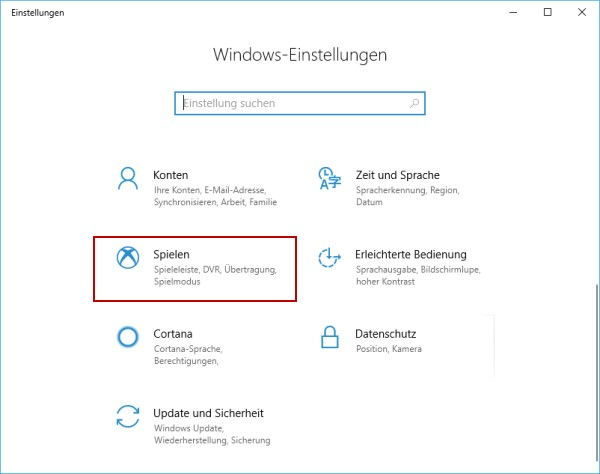 Game Mode aktivieren in den Windows Einstellungen