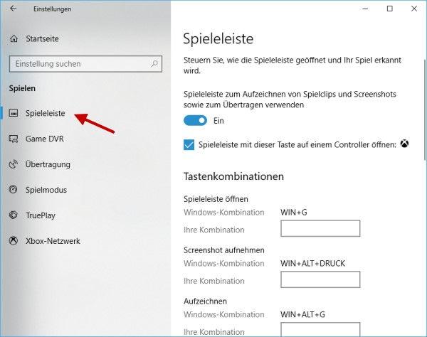 Einstellungen Spieleleiste von Windows 10