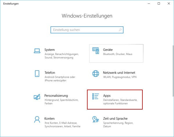 Standardprogramm festlegen - Windows-Einstellungen