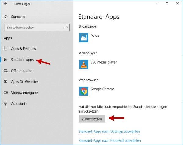 Standard-Apps zurücksetzen