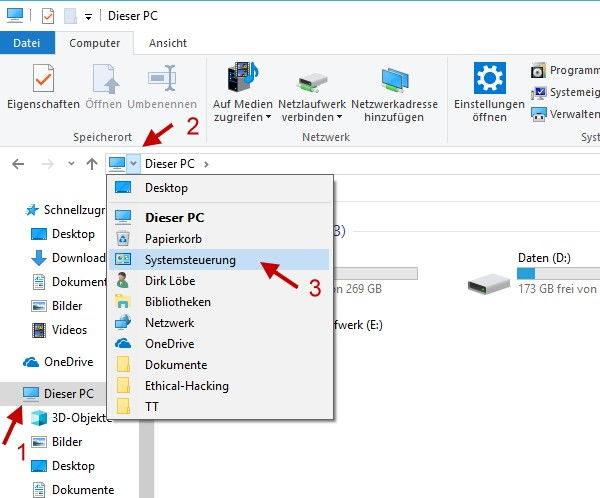 Systemsteuerung über den Windows-Explorer öffnen