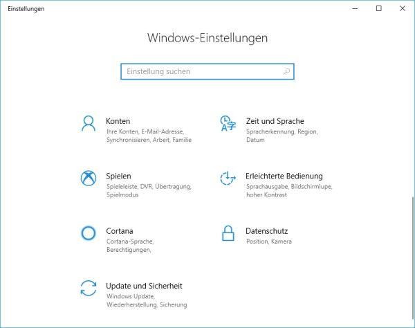 Windows-Einstellungen in Windows 10 öffnen