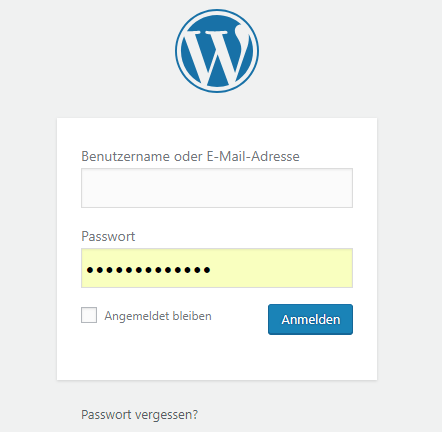 WP-Login Fenster