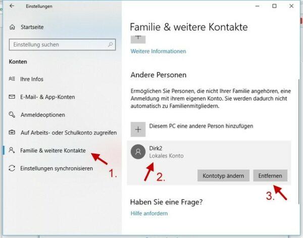 Windows-Einstellungen Familie und weitere Kontakte