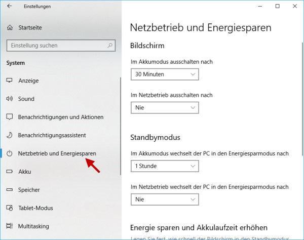 Einstellungen für Netzbetrieb und Energiesparen in den Windows-Einstellungen