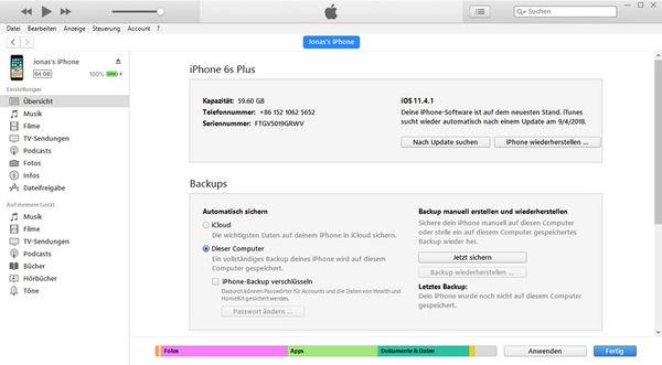 Bilder vom iPhone auf PC übertragen mit iTunes