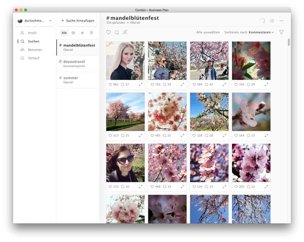 Combin Screenshot Profil Ihres potentiellen Influencers