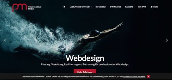 Progressive Media Screenshot der Webseite