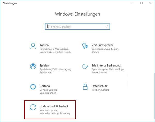 Windows Einstellungen mit Update und Sicherheit markiert
