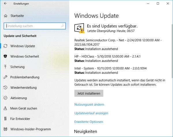 Windows Updates vorhanden und bereit zur Installation