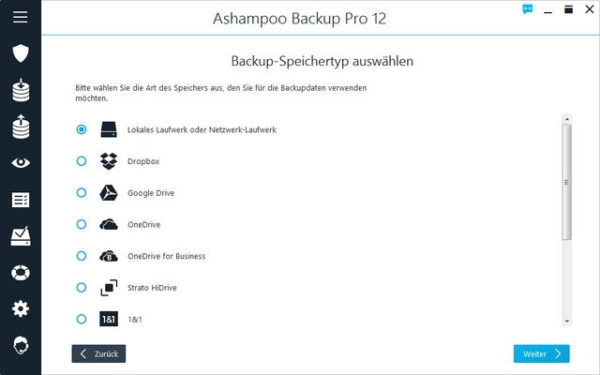 Ashampoo Backup Pro 12 Backup Auswahl