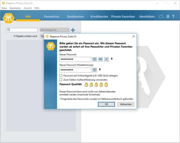 Passwörter erstellen und verwalten mit der Steganos Privacy Suite 20