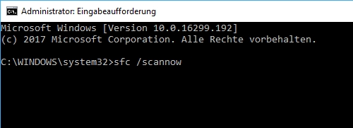 Systemdateien überprüfen mit sfc /scannow