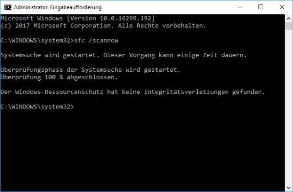 Überprüfung der Systemdateien bei Windows 10 abgeschlossen